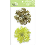 Zva Creative - Flower Embellishments - Bahama Botanicals - Olive and Kiwi