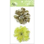 Zva Creative - Flower Embellishments - Bahama Botanicals - Olive and Kiwi