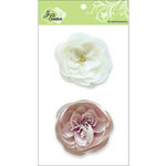 Zva Creative - Flower Embellishments - Bali Blooms - White and Dusky Pink