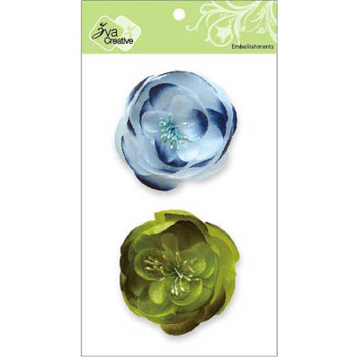 Zva Creative - Flower Embellishments - Bali Blooms - Blue and Olive