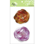 Zva Creative - Flower Embellishments - Bali Blooms - Orange and Purple