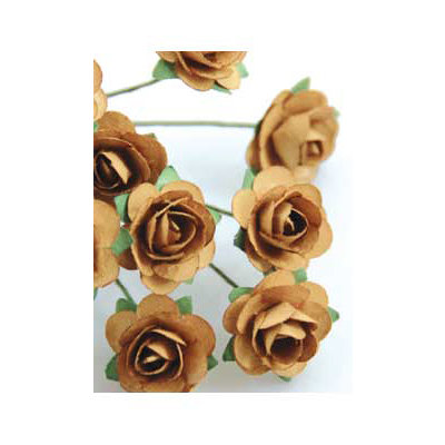 Zva Creative - 7/8 Inch Paper Roses - Bulk - Ginger, CLEARANCE