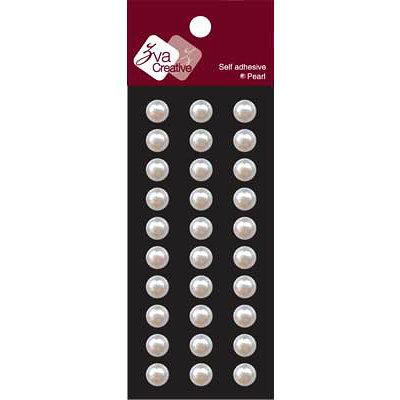 Zva Creative - Self-Adhesive Pearls - Basic Lines - .8 cm - White