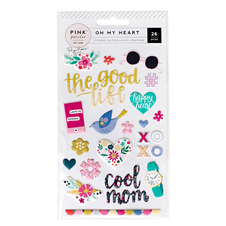 Pink Paislee - Oh My Heart Puffy Stickers