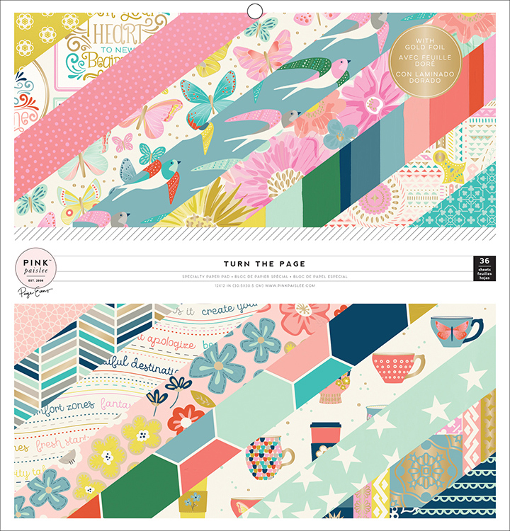 Pink Paislee - Paige Evans - Turn The Page 12x12 Paper Pack