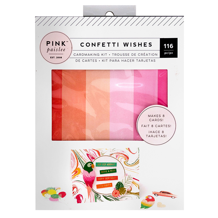 Pink Paislee Confetti Wishes Card Making Kit With Foil Accents