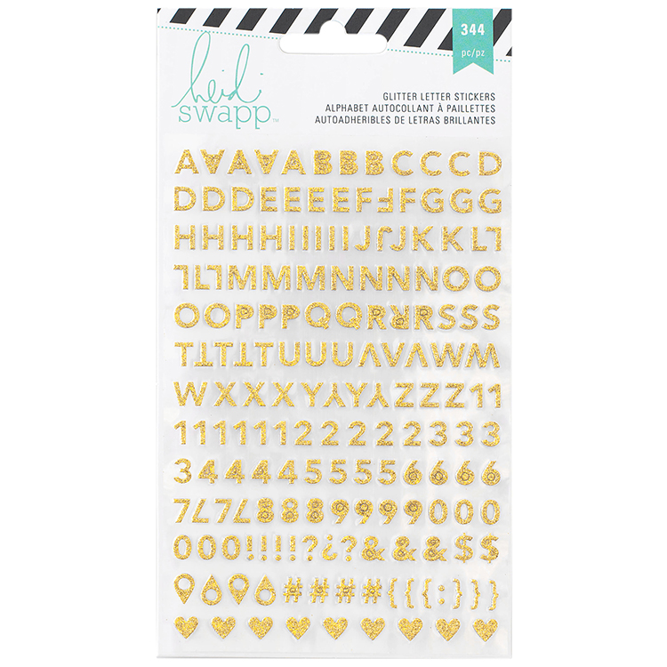 heidi swapp memory planner glitter stickers alphabet gold and pink