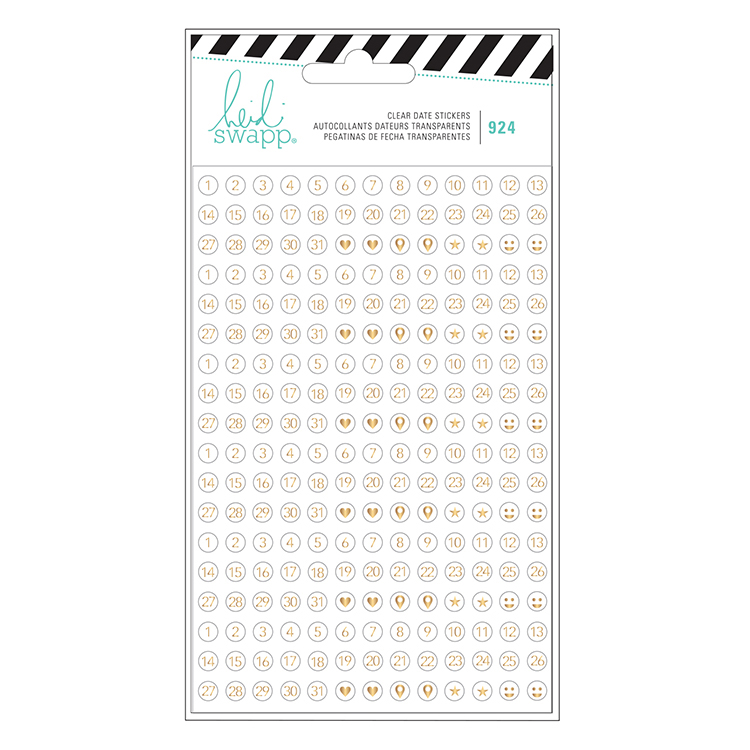 Heidi swapp fresh start collection memory planner clear stickers numbers and icons with gold foil