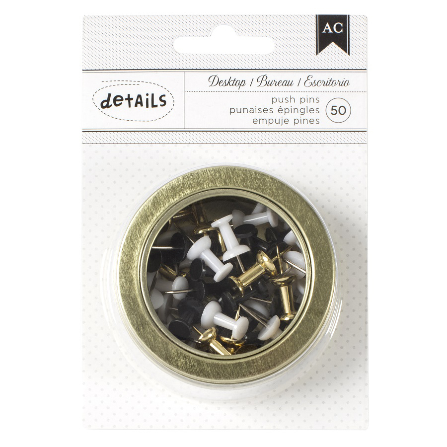 american crafts office tins small gold black white push pins