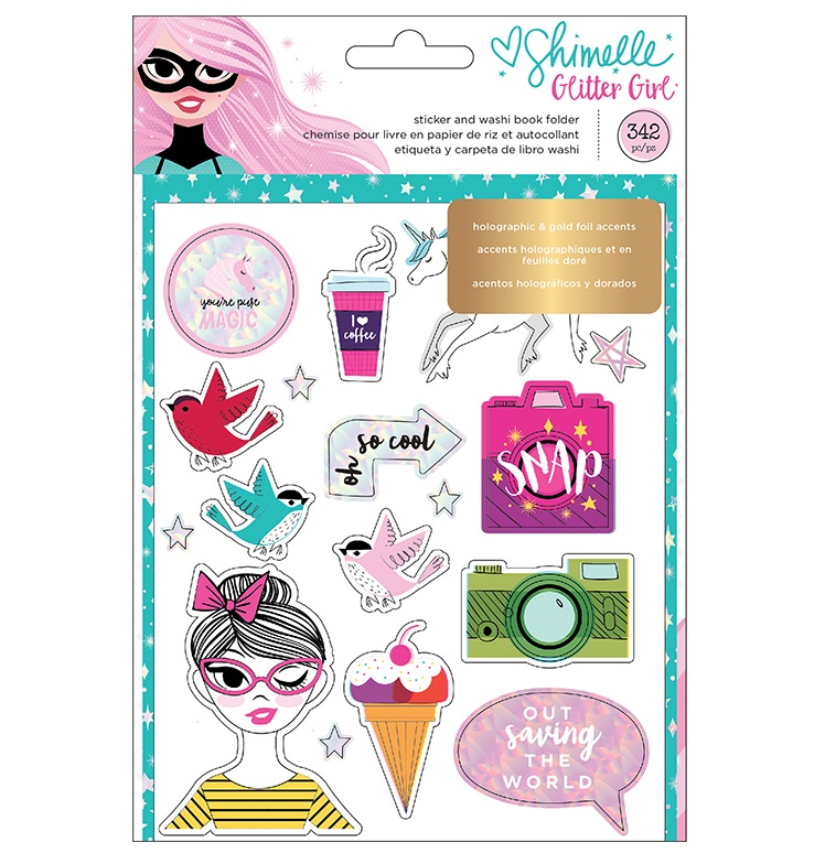 American crafts glitter girl collection sticker and washi book with foil accents