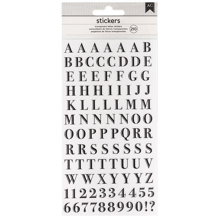 Clear Alphabet Stickers