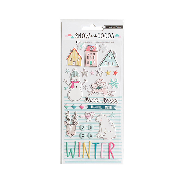 Crate Paper - Snow and Cocoa Puffy Stickers