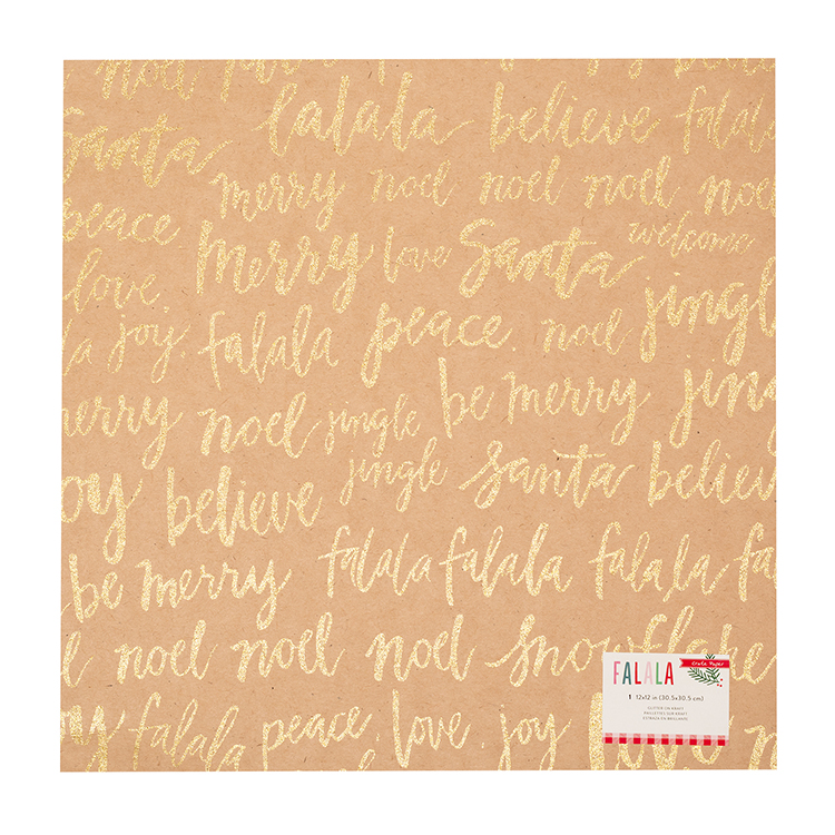 Crate Paper Falala Collection Christmas 12 X Kraft With Glitter Accents