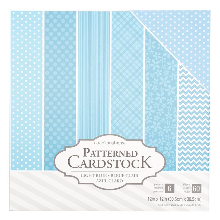 Coredinations 60 Sheets Light Blue Patterned Cardstock Delectable Blue Patterned Sheets
