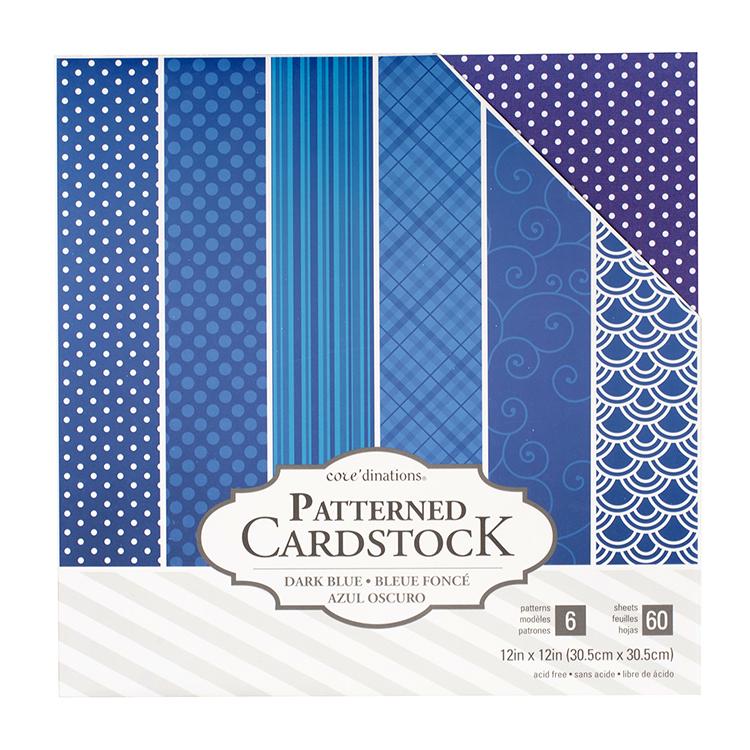 Coredinations 60 Sheets Dark Blue Patterned Cardstock Simple Blue Patterned Sheets