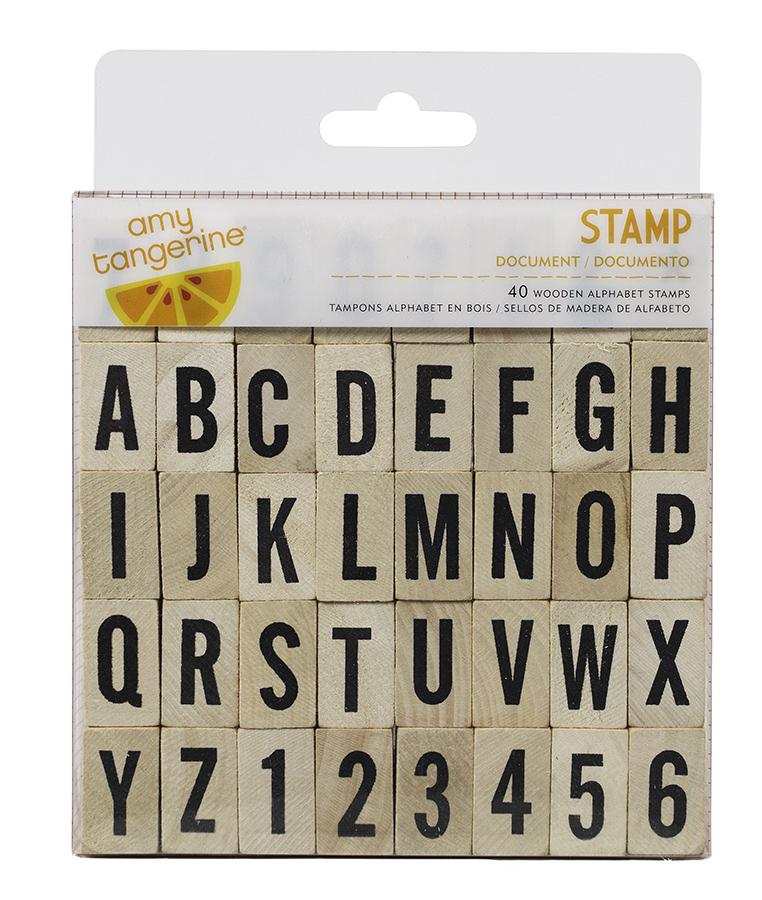 American Crafts Document Wood Alphabet Stamp Set
