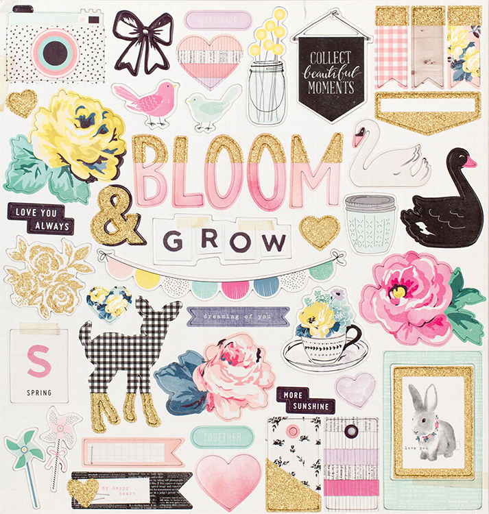 Crate Paper Maggie Holmes Bloom Chipboard Stickers With