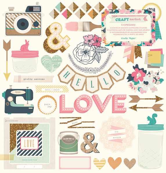 Crate paper craft market collection chipboard