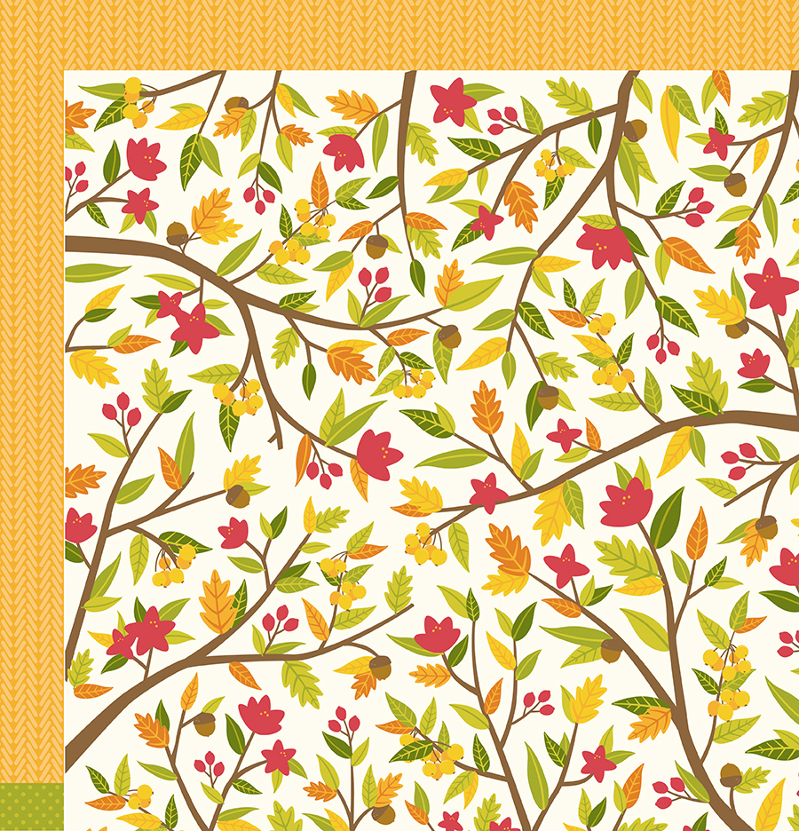 Scrapbook paper collections - Pebbles Harvest Collection 12 X 12 Double Sided Paper Fall Time