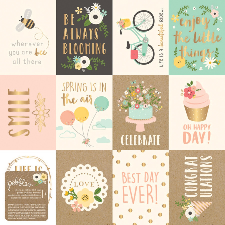 Scrapbook paper collections - Pebbles Spring Fling Collection 12 X 12 Paper With Foil Accents Cut Outs