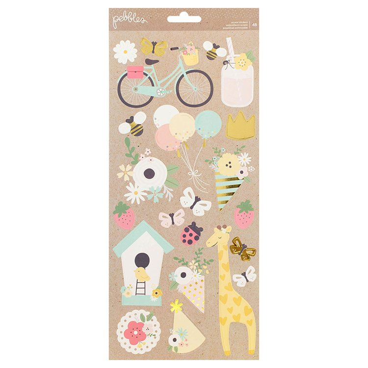pebbles   spring fling collection   cardstock stickers with foil