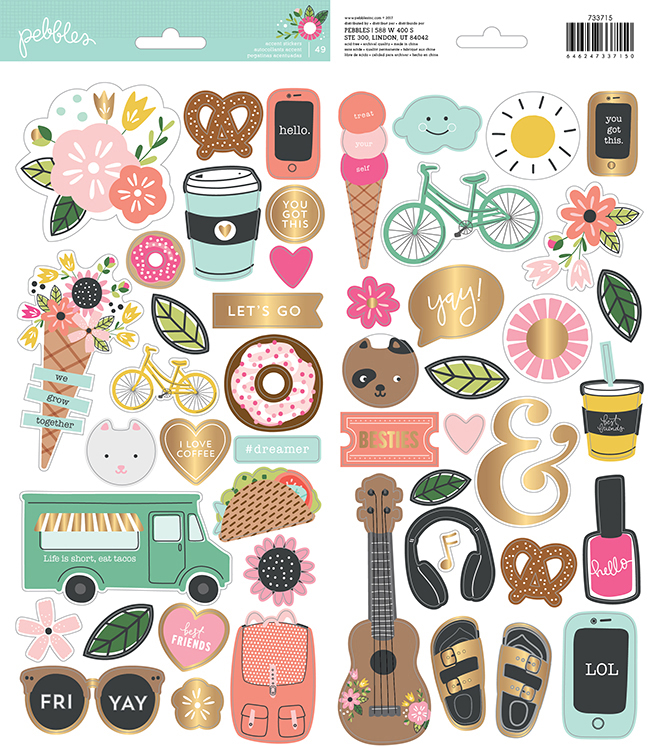 Pebbles Inc Girl Squad Cardstock Stickers w/foil