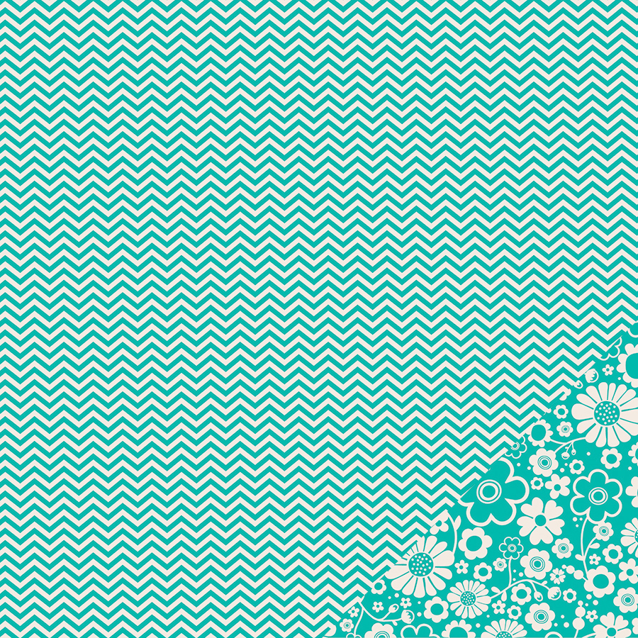 Double sided craft paper - Pebbles Basics Collection 12 X 12 Double Sided Paper Aqua Chevron