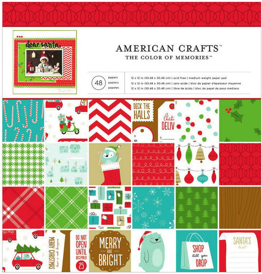 american crafts be merry 12 x 12 paper pad