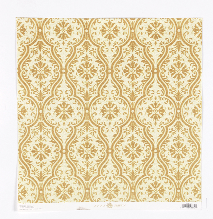 Griffin Fleur Rouge Collection 12 X 12 Flocked Paper Gold Damask