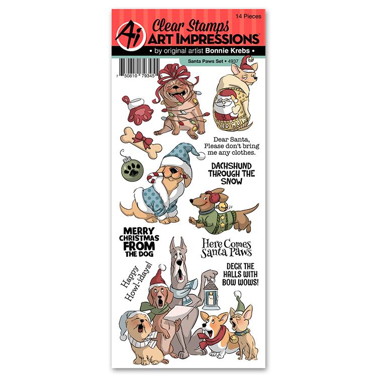 Christmas Stamps.Art Impressions Christmas Santa Paws Stamp Set