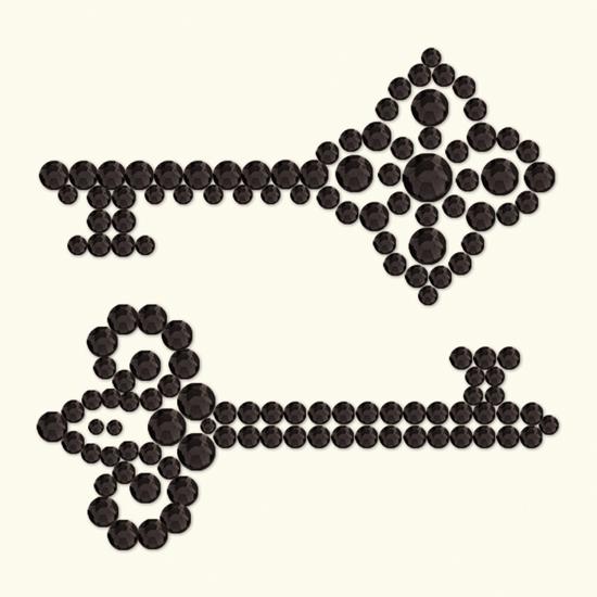 BasicGrey - Bling It Collection - Rhinestones - Keys - Onyx