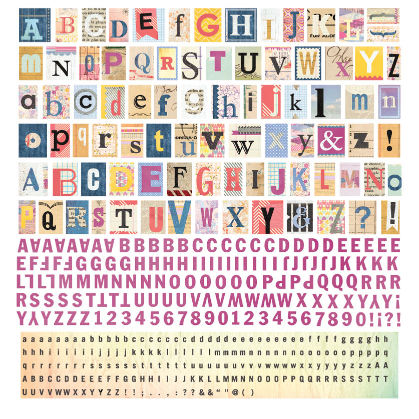 BasicGrey   Soleil Collection   12 x 12 Alphabet Stickers