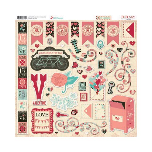 Bo Bunny Love Letters Collection 12 X 12 Chipboard Stickers