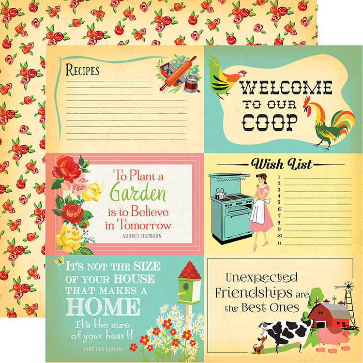 Carta Bella Paper Country Kitchen 4x6 Journaling Cards Paper