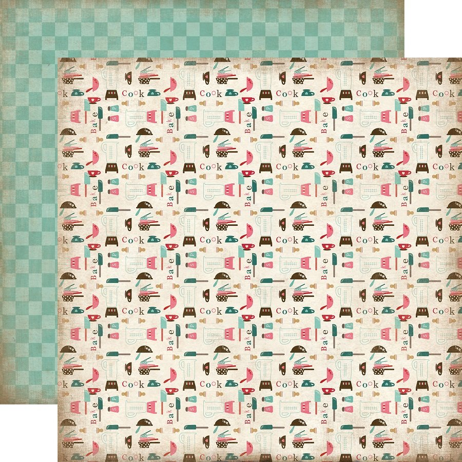 Carta Bella Paper   Home Sweet Home Collection   12 X 12 Double Sided Paper    Kitchen Utensils