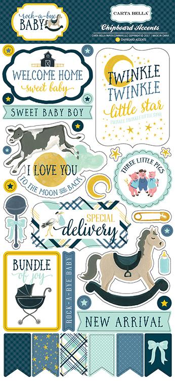 Carta Bella Paper Rock A Bye Baby Boy Chipboard Stickers