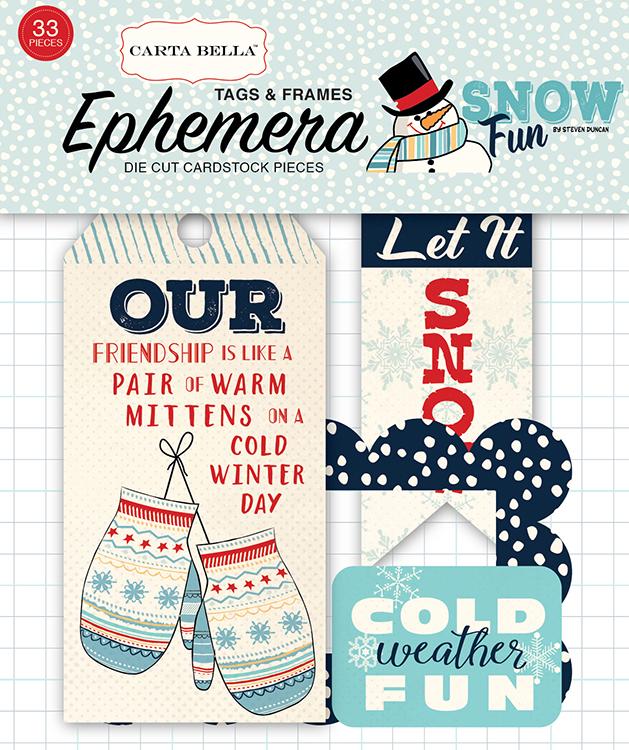 Carta Bella Paper Snow Fun Frames and Tags Ephemera