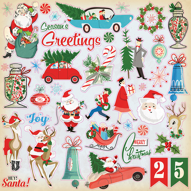 carta bella paper a very merry christmas collection 12 x 12 cardstock stickers