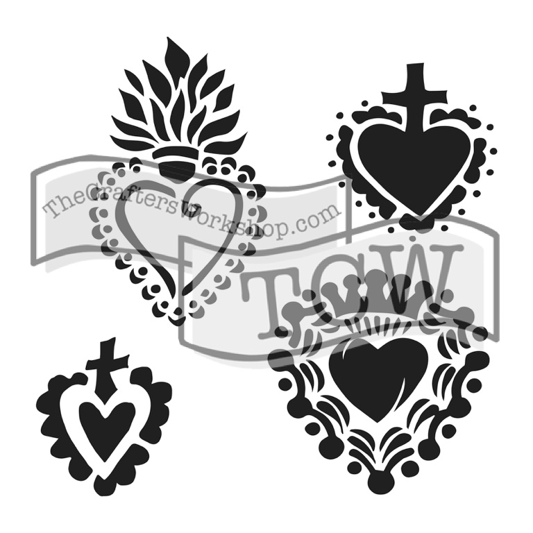 The Crafters Workshop Mini Regal Hearts 6 X Doodling Templates