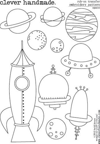 Clever handmade embroidery patterns rub ons space for Space embroidery patterns