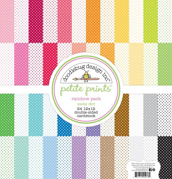 Doodlebug Design Rainbow Swiss Dot Petite Print Assortment 12 X 12