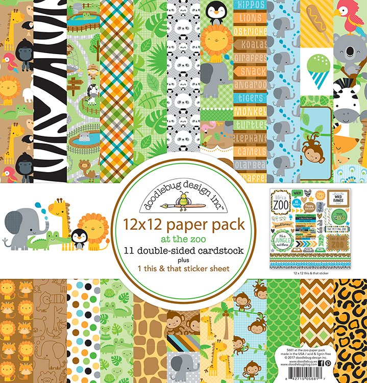Doodlebug Animal Crackers 2pc Scrapbook Paper 12x12 At The Zoo