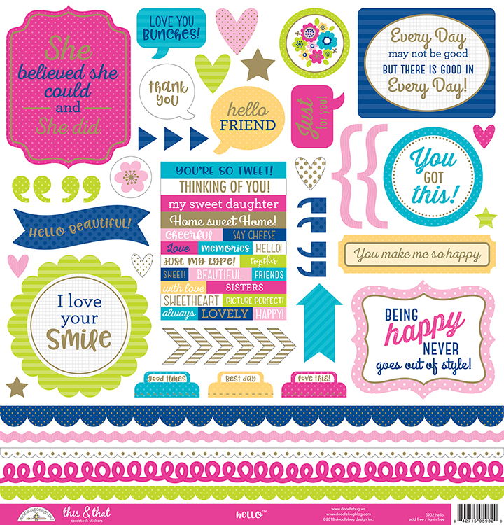 Doodlebug Design Hello Collection Cardstock Stickers Icons with Foil Accents