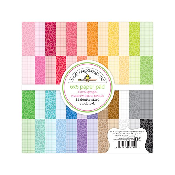 Doodlebug Design Petite Prints Floral And Graph Rainbow 6x6 Paper Pad