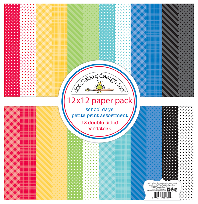 Doodlebug Petite Prints Double-Sided Cardstock School Days 12 Designs//1 Each