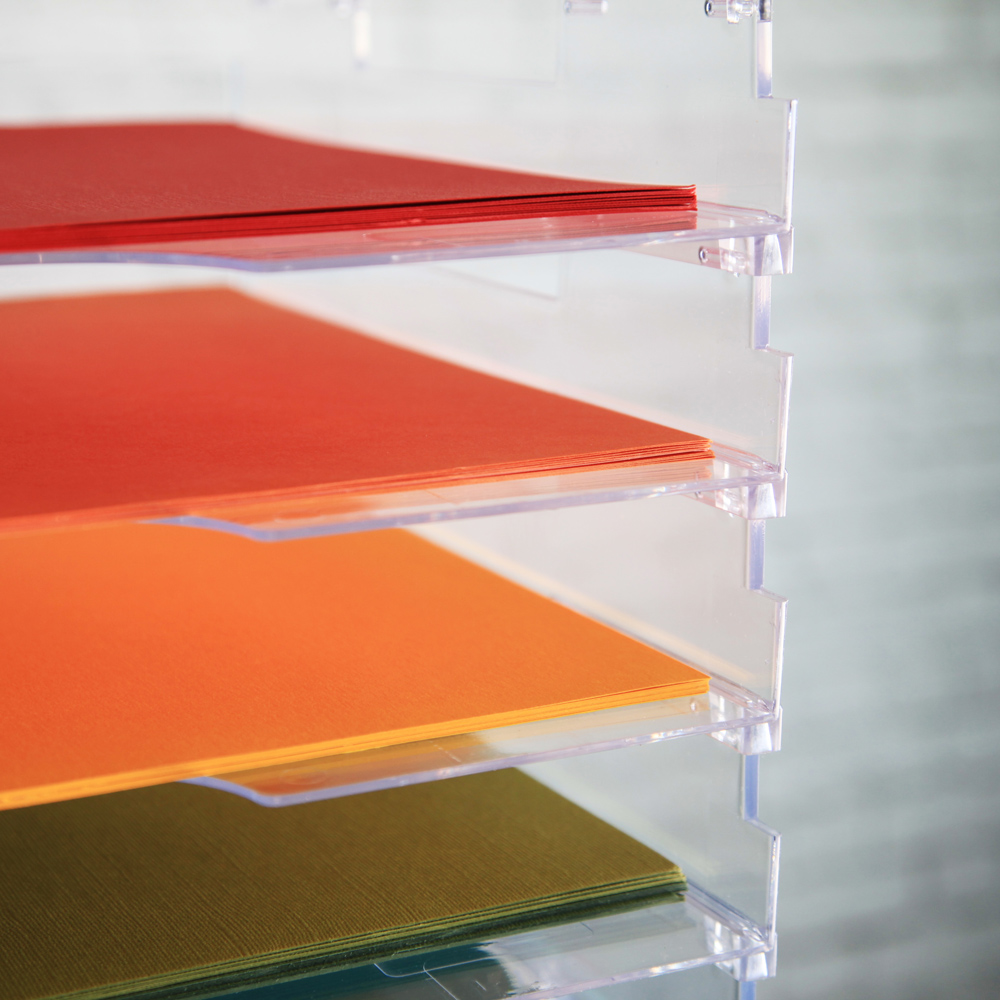 Scrapbook paper rack - Umbrella Crafts 12 X 12 Stackable Paper Trays No Lip 10 Pack