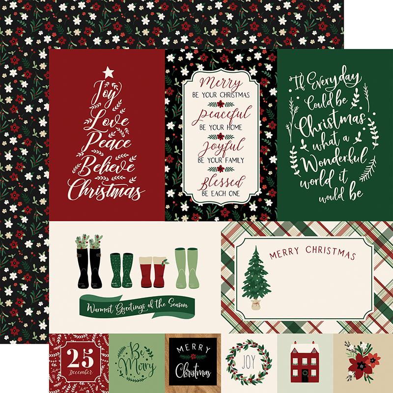 CHRISTMAS PHRASES 12 x 12 Scrapbook Paper