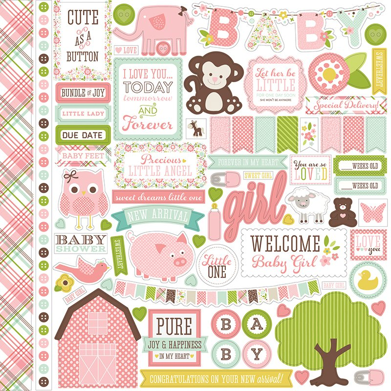 Echo Park Bundle Of Joy New Addition Girl Elements Stickers