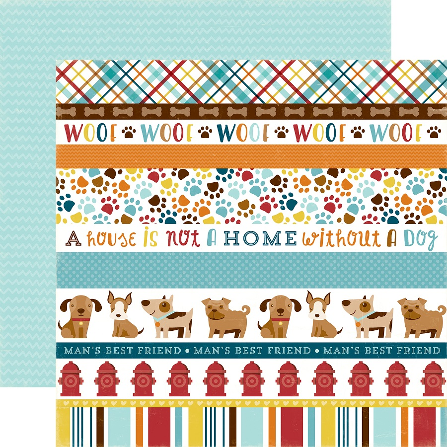Scrapbook paper collections - Echo Park Bark Collection 12 X 12 Double Sided Paper Dog Border Strips