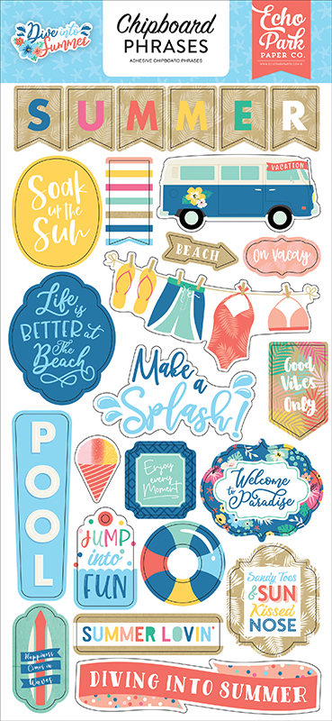 Echo Park ~ DIVE INTO SUMMER ~ Chipboard Accents